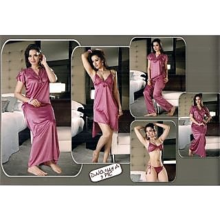 9cdc2a453f Sexy Womens Hot Sleep Wear 6p Bra Panty Top Pyjama Nighty Over Coat 1449A  Onion Pink
