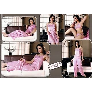 Sexy Womens Hot Sleep Wear 6p Bra Panty Skirt Top Pyjama Nighty   Over Coat  1457C Light Pink Fun Color Bed Room Fun Set Lounge Wear for Date Prices in  ... 6f3930234