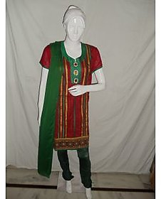 Triveni red & green suit