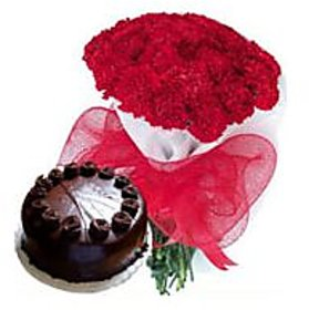Beauty of Red Carnation 20 pcs. with 1 kg Chocolate Cake