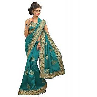 SuratTex Blue Bhagalpuri Silk Plain Saree With Blouse