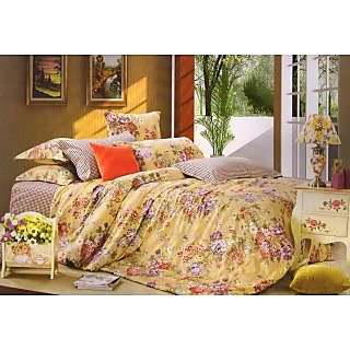 Valtellina 100 Cotton Floral Printed Double Bed Sheet (FCA-018)