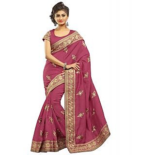 SuratTex Pink Bhagalpuri Silk Embroidered Saree With Blouse