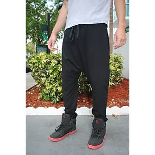 Harem Pants Black Jogging Hip Hop Dance Drop Crotch - Men and Women