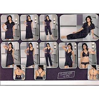 db8f0cd507 Seductive Hot Womens Sexy Sleep Wear 12pc Bra Panty Top Hot Shorts  Spaghetti Nighty Robe Pajama