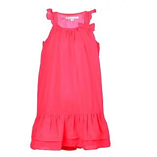 Eimoie Girls Casual Solid Dyed Fluo Pink Dress2005FluoPink