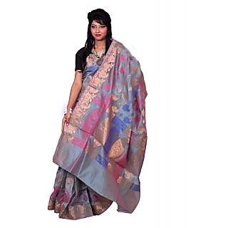 Banarsi Silk Works Grey With Multi Color Silk Saree (FW418)