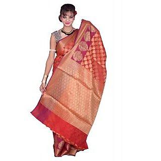 Banarsi Silk Works Red With Multi Color Art Silk Saree (BS271)