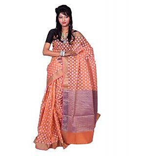 Banarsi Silk Works Orange With Multi Color Silk Saree (FW354)