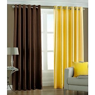 Homesazz Solid Design Long Door Curtains(Set of 2)