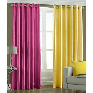 Homesazz Solid Design Long Door Curtains(Set of 2)