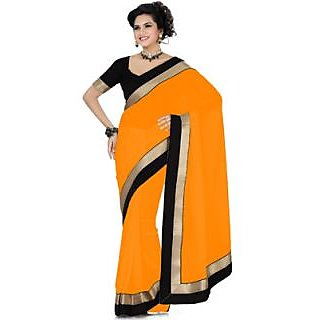 Florence Orange Chiffon Emboridered Saree