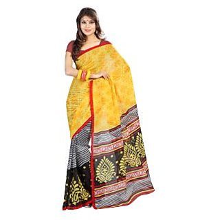 Florence Yellow Faux Georgette  Printed Saree