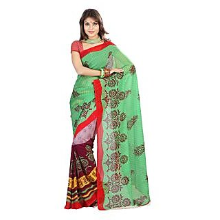 Florence Green Faux Georgette  Printed Saree