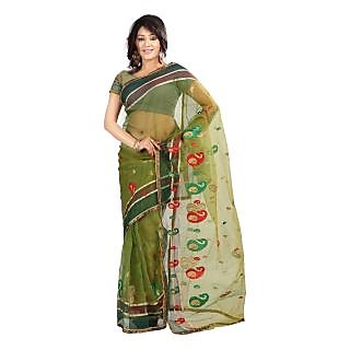 florence clothing company Green Tissue Printed Saree With Blouse