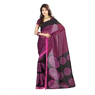 Florence Pink Faux Georgette  Printed Saree