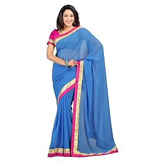 Florence Blue Chiffon Emboridered Saree