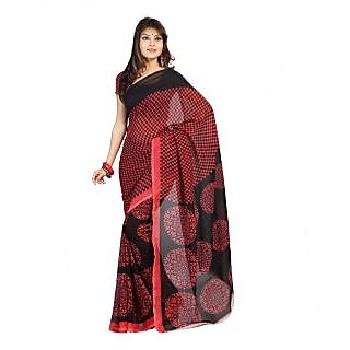 Florence Red Faux Georgette  Printed Saree