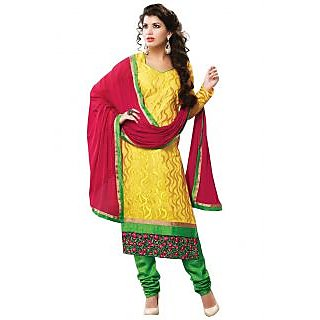 Prafful Yellow Chanderi Cotton Unstiched Designer Dress Material