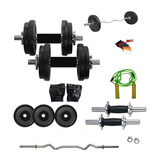 Dreamfit 16kg Adjustable Grip Dumbell Rubber Plates - 3 Rods (1 Curl) - Gym Gloves - Wrist Band