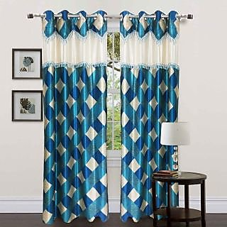 Homefab India Stylish Designer Check Aqua Long Door(8X4 ft)Curtain(HF286)