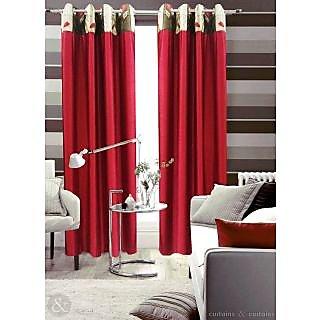 Homefab India Stylish Maroon Window(6X4 ft)Curtain(HF289)