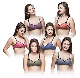 College Girl Non Wired Designer T-Shirt Bra (B-Cup) - Set of 6