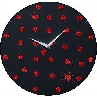 Zeeshaan Black Red Polka  Wall Clock