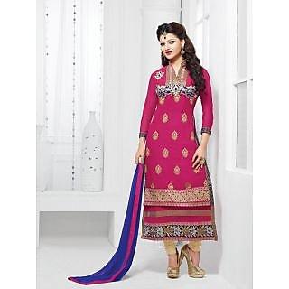 Urwashi Routela Georgette Pink Semi Stitched Salwar suits