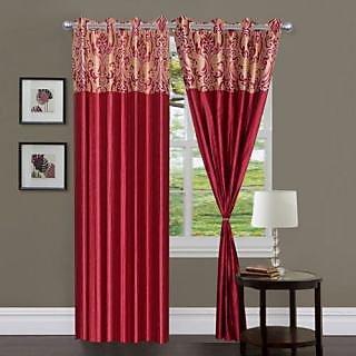 Homefab India Stylish Elegency Maroon Window(5X4 ft)Curtain(HF321)