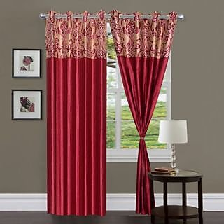 Homefab India Stylish Elegency Maroon Long Door(8X4 ft)Curtain(HF321)