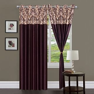 Homefab India Stylish Elegency Coffee Long Door(9X4 ft)Curtain(HF322)