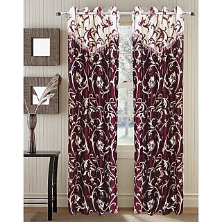Homefab India Stylish Maroon Jalebi Lace Long Door(9X4 ft)Curtain(HF290)
