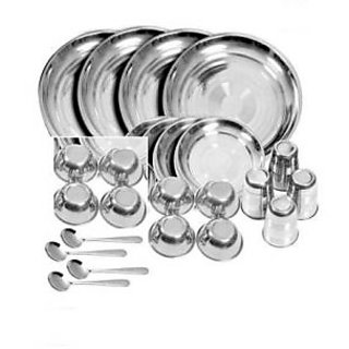 Stainless Steel 24 Pcs Dinner Set For Daily & Festive Use- H6U14