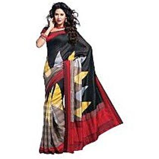 Black Printed Bhagalpuri Silk Saree