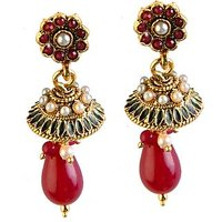 Kriaa Elegant Red & White Meenakari Earring  -  1301812