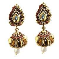 Kriaa Marvelous Maroon & White Meenakari Earring  -  1301813