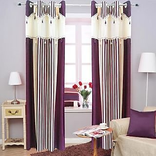 Homefab India Designer Stripe Wine Window(6X4 ft)Curtain(HF291)