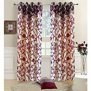 Homefab India Designer Maroon Window(5X4 ft)Curtain(HF292)