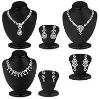Sukkhi Rhodium Plated Bridal/Wedding 3 Necklace + 3 Pair of Earring For Women