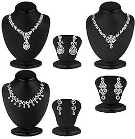 Sukkhi Rhodium Plated Bridal/Wedding Combo of 3 Necklace + 3 Pair of Earring for Women