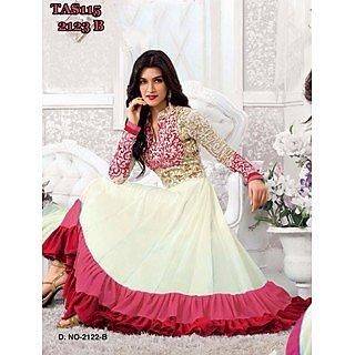 Thankar Kriti sanon White And Red Long Length Designer Anarkali Suits