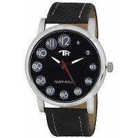 Tigerhills Round Dial Black Leather Strap Quartz Watch For Men