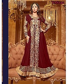 Thankar Maroon Zari Embroidery Georgette Semi- Stitched Suit