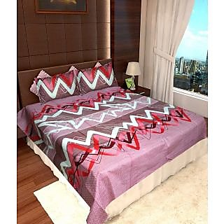 Homefab India 100% Cotton Double Bed Sheet With 2 Pillow Covers(DBS105)