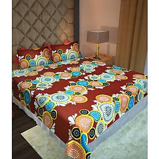 Homefab India 100% Cotton Double Bed Sheet With 2 Pillow Covers(DBS108)
