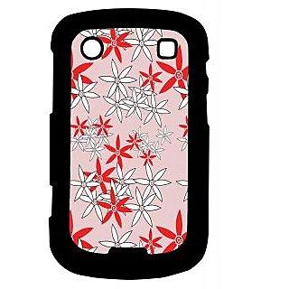 Pickpattern Back Cover For Blackberry Bold 9900 RED&WHITEFLOWER9900-5865
