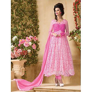 Thankar Attractive Net Brasso Designer Pink Anarkali Suits