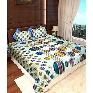 Homefab India 100 Cotton Double Bed Sheet With 2 Pillow Covers(DBS113)