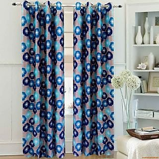 Homefab India Floral Aqua Blue Window(6X4 ft)Curtain(HF253)